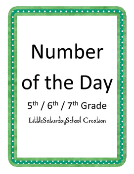 Number of the day: upper elementary and middle school