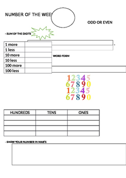 Number of the week A4 editable number sense activity for Maths