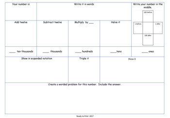 Number of the week activity worksheets