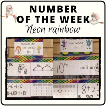 Number of the week activity worksheets in neon rainbow