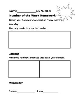 Number of the week homework