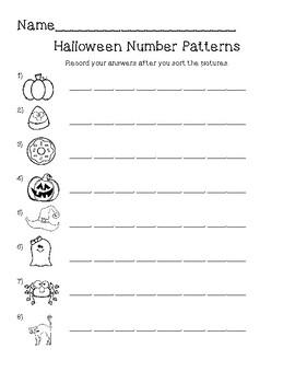 Number patterns Halloween Center 1st grade