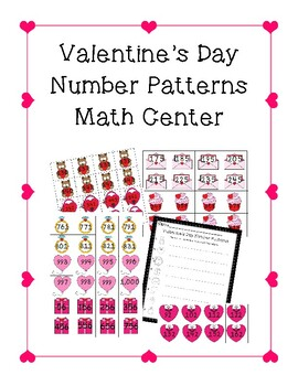 Number patterns Valentine's Day Center 2nd grade