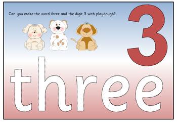 Number playdough mats zero to ten