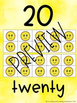 Number poster with emoji 10 and 20 frames