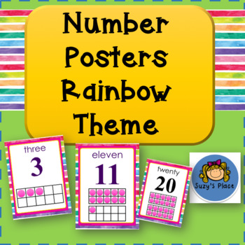 Number posters 0-20 Rainbow Theme