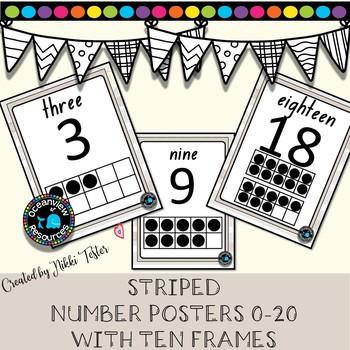 Number posters 1-20 for Bulletin boards -Linen Design