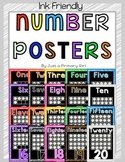 Number posters 1-20 with ten frame ink friendly background