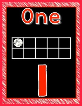 Number posters 1-20 with ten frame black background