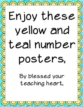Number posters Blue and Yellow