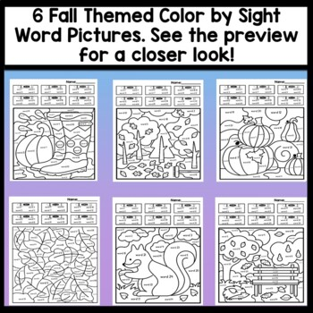 Color by Sight Word for Fall and Sight Word Coloring Sheets for Fall {8 pages!}