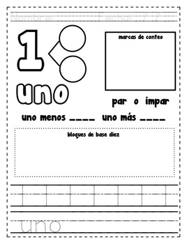 Number practice pages in Spanish #0-9