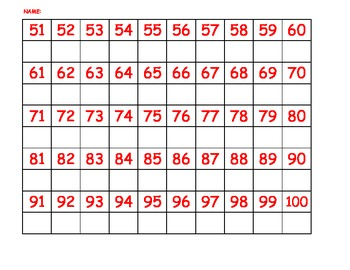 Number practice writing 1-100 hundreds chart copy correspondence math digits