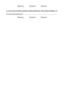 Number progression sheet (Fractions, Decimals, Percentage and Ratios)