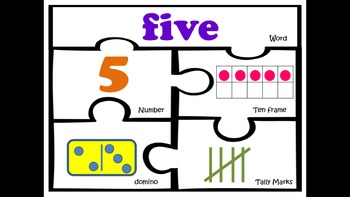 Number puzzles 1-20 kindergarten first grade math work station sense centers