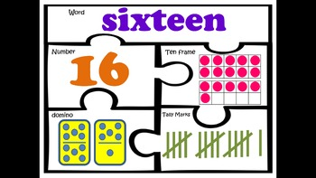 Number puzzles 11-20 kindergarten first grade math work station sense centers