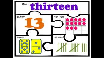 Number puzzles 11-20 kindergarten first grade math work station sense centers