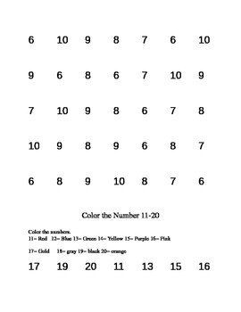 Number recognition math packet