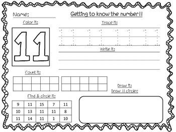 Number Recognition Worksheets 11 20