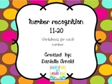 Number recognition worksheets 11-20