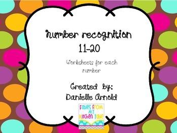 Number recognition worksheets 11-20
