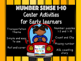 Number Sense Center Activities 1-10 TRANSPORTATION THEME