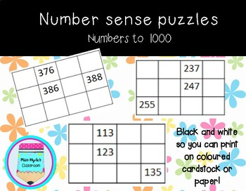 Number sense puzzles to 1000