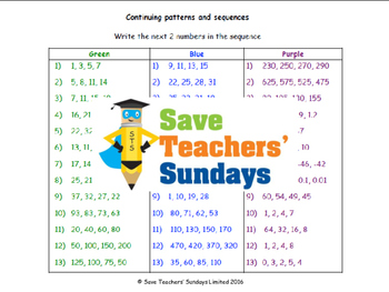 Number sequences lesson plans and sets of sequences to continue