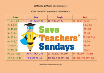 Number sequences worksheets (4 levels of difficulty)