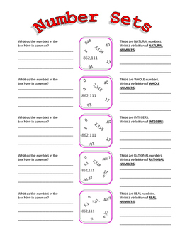 Number systems, number sets, hierarchy of numbers lesson/activities