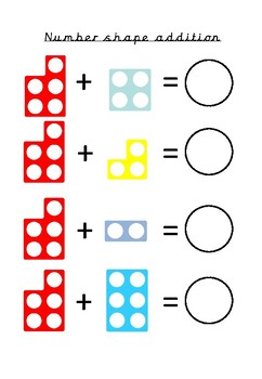 Number shape addition by counting on differentiated worksheets.