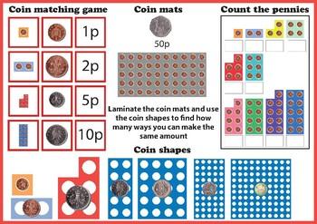 Number shape money - British coins