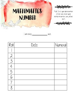 Number (subitising) printable template