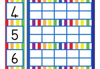 Number symbol, number name and counter cards, 1-10
