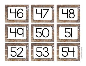 Number tags 1-60 Weathered Wood Theme