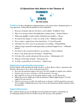number the stars 12 theme related quotations teaching ideas tpt