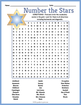 Number the Stars Word Search