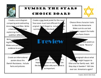 Number the Stars CHOICE BOARD BUNDLE No Prep 12 Activity Pages Rubric
