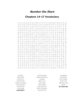Number the Stars Ch. 14-17 Vocabulary Word Search
