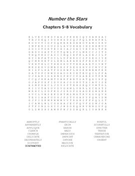 Number the Stars Ch. 5-8 Vocabulary Word Search