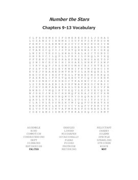 Number the Stars Ch. 9-13 Vocabulary Word Search
