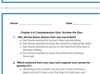 Number the Stars: Chapter 4-6 Comprehension Quiz