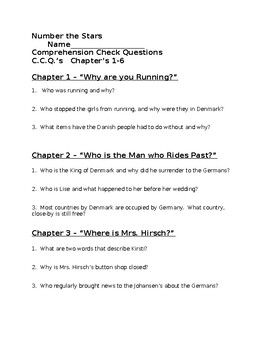 Number the Stars Comprehension questions and quizzes