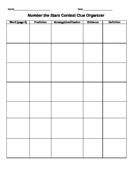 Number the Stars Context Clue Organizer
