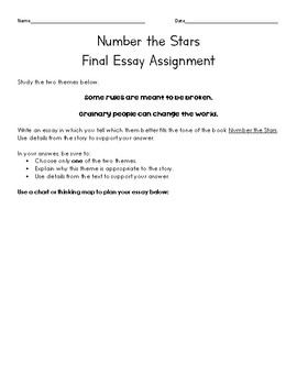 Number the Stars Final Essay Assignment