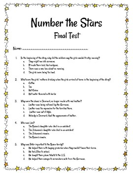 Number the Stars Final Test