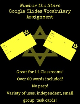 Number the Stars Google Slides Vocabulary Assignment