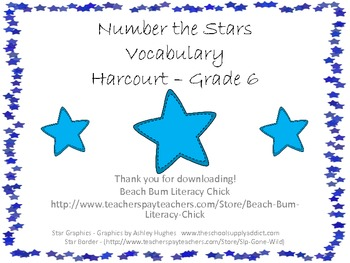 Number the Stars - Harcourt Trophies Vocabulary Matching Game