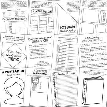Number the Stars Interactive Notebook Novel Unit Study Activities, Book Report