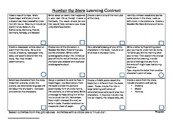 Number the Stars Learning Contract